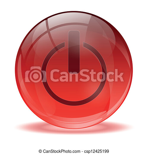 Esfera de vidrio 3D cerca de icono - csp12425199