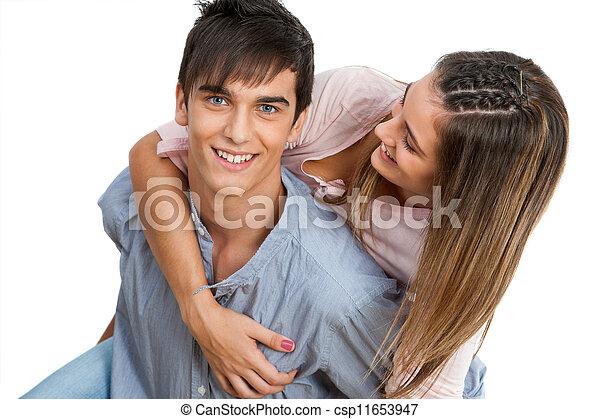 cierre, pareja, arriba, piggybacking., guapo - csp11653947