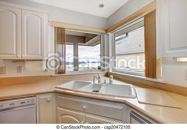 Cierre, vista, arriba, cocina, esquina. Room., arriba, windows ...