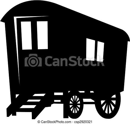 cigana, caravana, vetorial, silueta, vagão - csp2920321