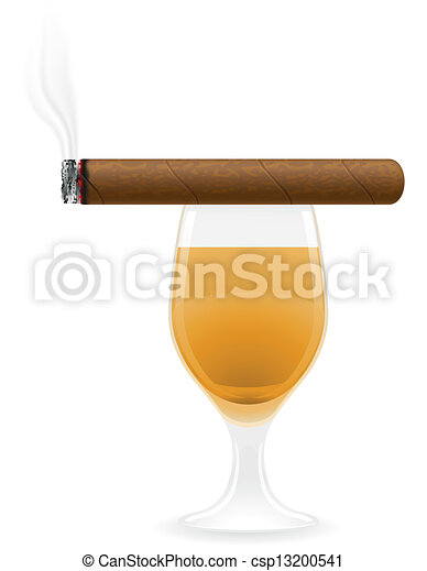 cigar and alcoholic drinks vector  - csp13200541
