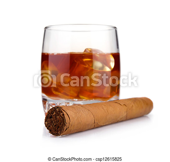 Cigar and glass of whiskey with ice concept isolated - csp12615825