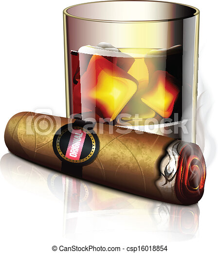 Cigar And Whiskey Icon - csp16018854