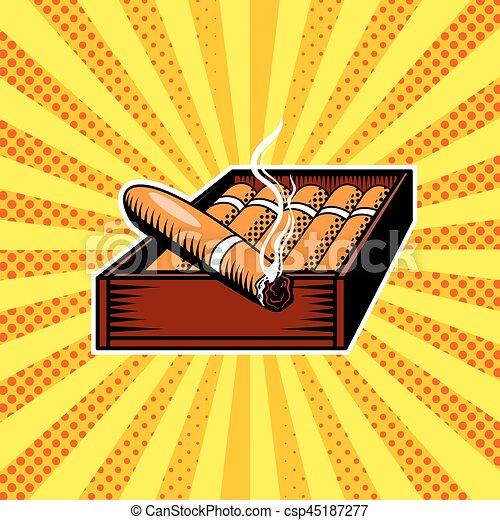 Cigar box pop art vector illustration - csp45187277