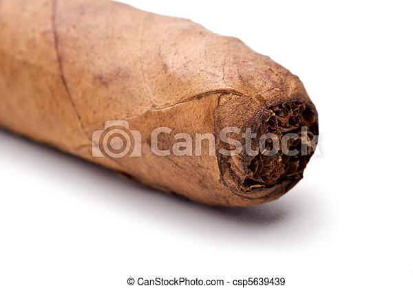 Cigar tip isolated on a white background - csp5639439
