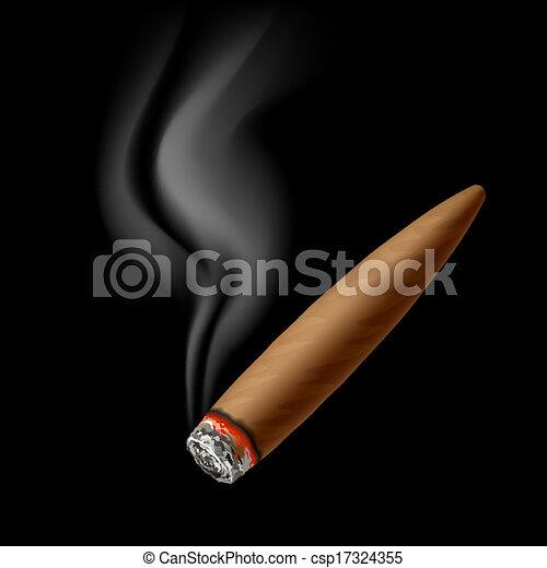 Cigar with smoke - csp17324355
