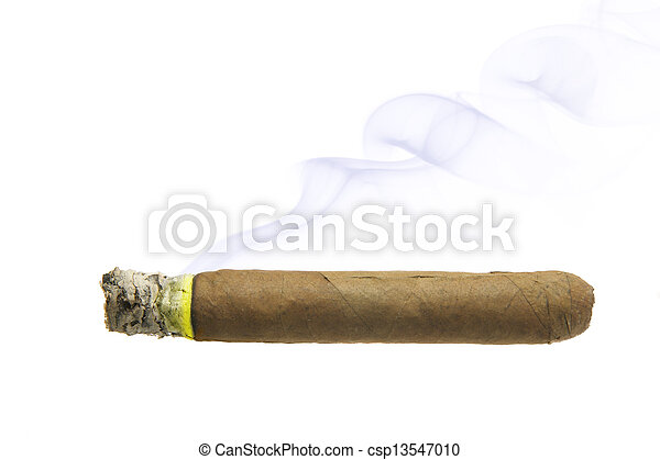 Cigar with smoke isolated - csp13547010
