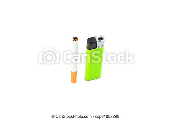 Cigarette and green lighter on white - csp31853290