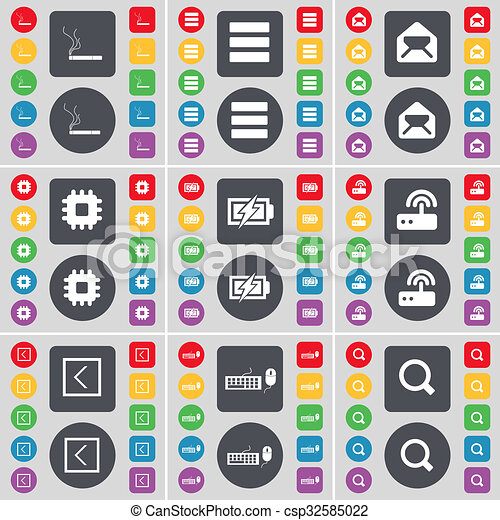 Cigarette, Apps, Message, Processor, Charging, Router, Arrow left, Keyboard, Magnifying glass icon symbol. A large set of flat, colored buttons for your design. - csp32585022