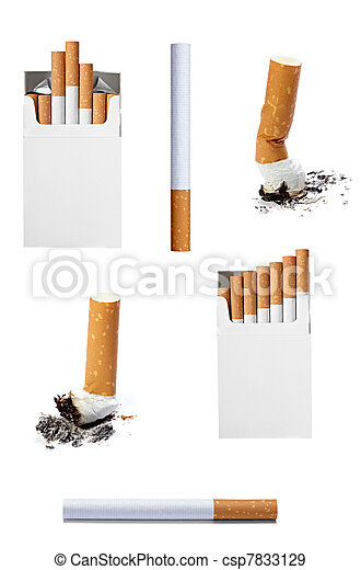 cigarette box and  butt smoking - csp7833129