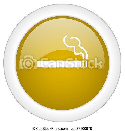cigarette icon, golden round glossy button, web and mobile app design illustration - csp37100878