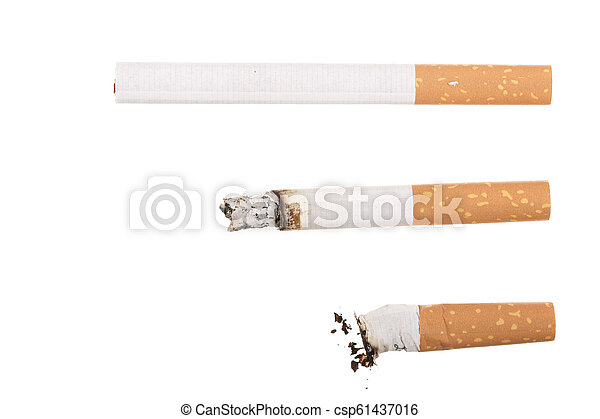 cigarette isolated on white background. Top view - csp61437016