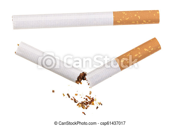 cigarette isolated on white background. Top view - csp61437017