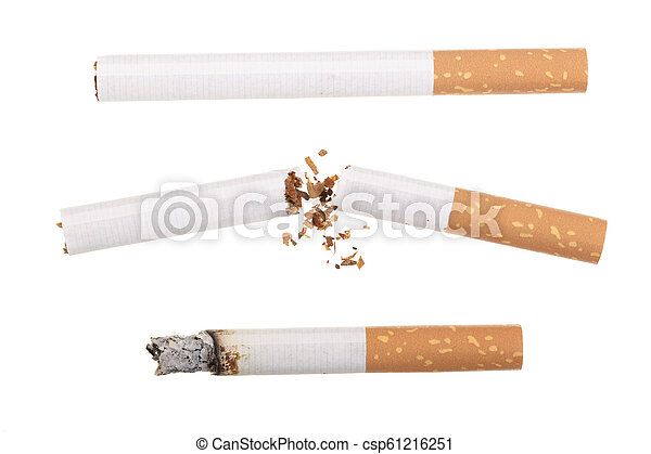 cigarette isolated on white background. Top view - csp61216251