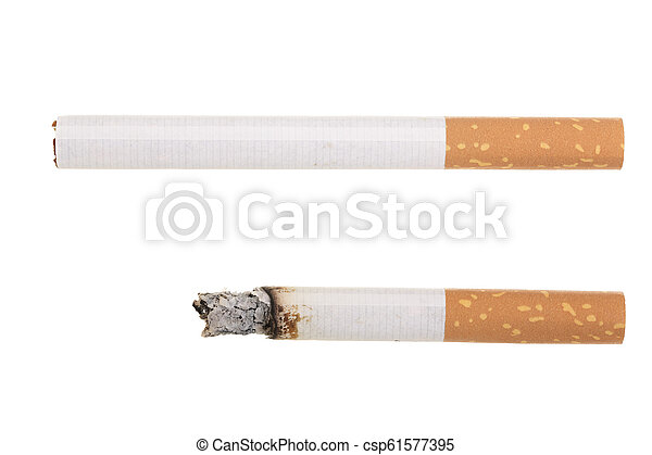 cigarette isolated on white background. Top view - csp61577395