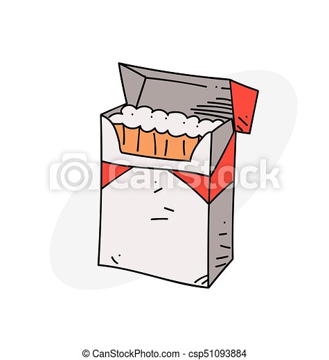 Dessin Paquet De Cigarette cigarette, paquet. style, image., coloré, drawing., puéril, paquet