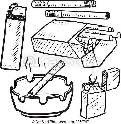 Cigarette smoking objects sketch - csp10380747
