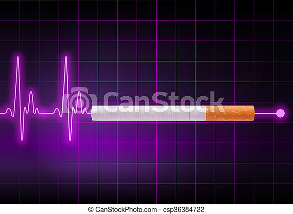 Heartbeat Line Art : Cigarette stopping the heartbeat line on violet