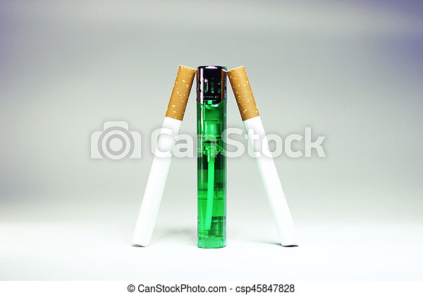 Cigarette wtih green lighter isolated - csp45847828