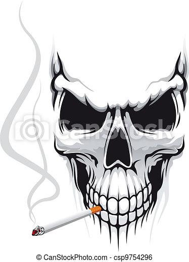 Cráneo con cigarrillo - csp9754296
