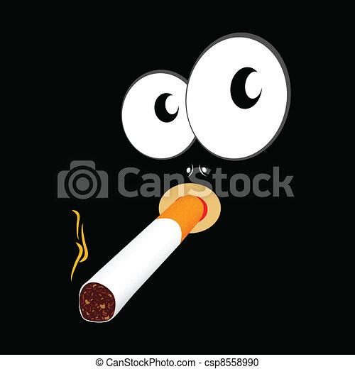 Ilustración de fumar cigarrillos en un fondo negro - csp8558990