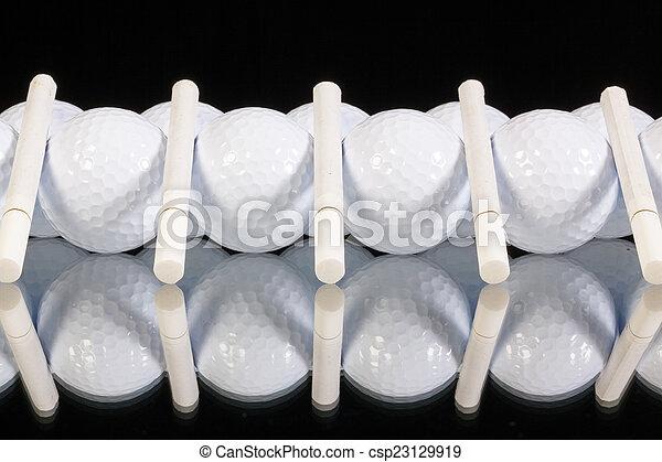 cigarros, branca, bolas, ornamento, golfe - csp23129919