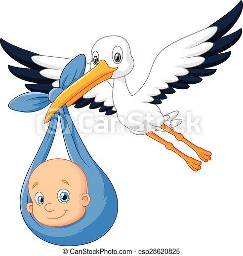 Cigogne Et Bébé cigogne, bébé, dessin animé, oiseau. illustration, dessin animé