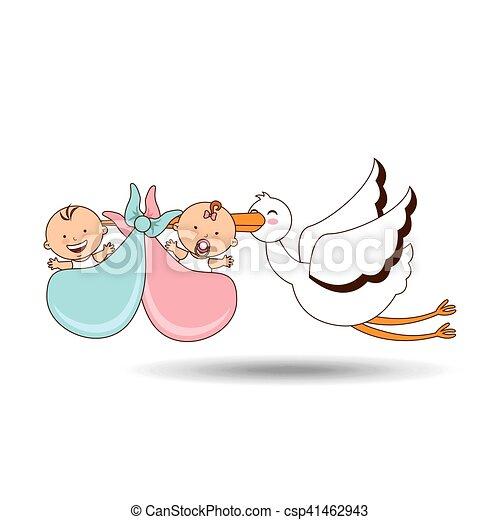 Cigogne jumeaux conception dessin anim naissance 10 eps dessin anim cigogne vecteur - Naissance dessin ...