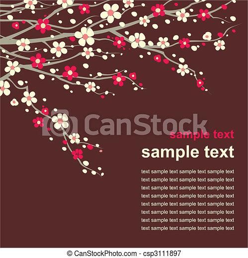 ciliegia, ramoscello, fiore, scheda - csp3111897