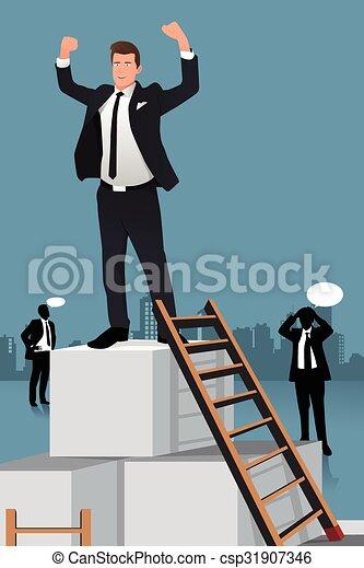 Hombres de negocios subiendo a la cima de la caja - csp31907346