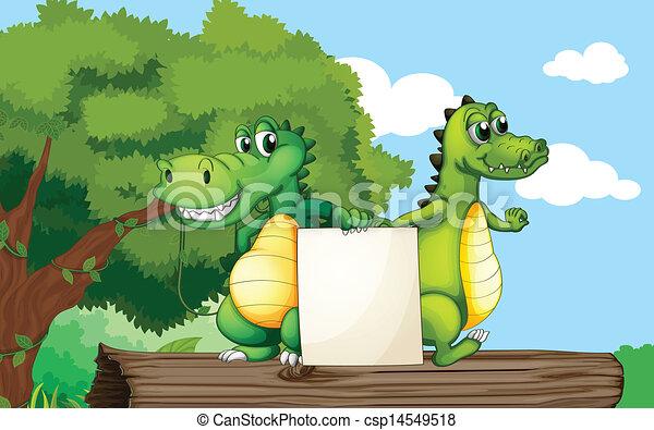 Crocodiles en la parte superior de un baúl con una tabla vacía - csp14549518