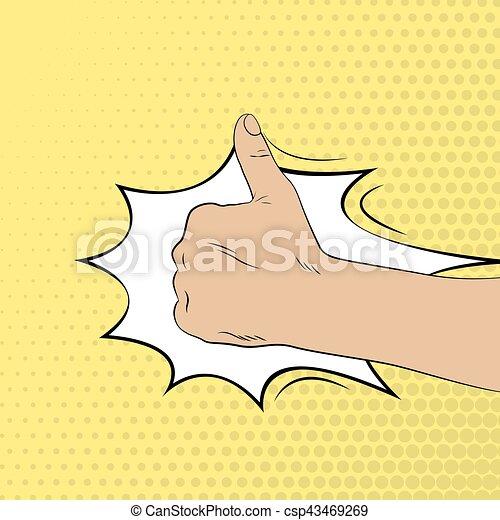 cima., estilo, arte, gesture., ilustração, mão, estouro, polegares - csp43469269