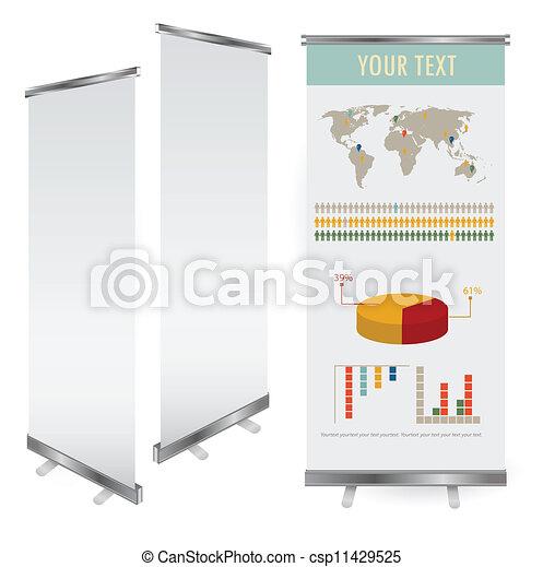 cima, exposição, vetorial, modelo, em branco, desenhistas, bandeira, rolo - csp11429525
