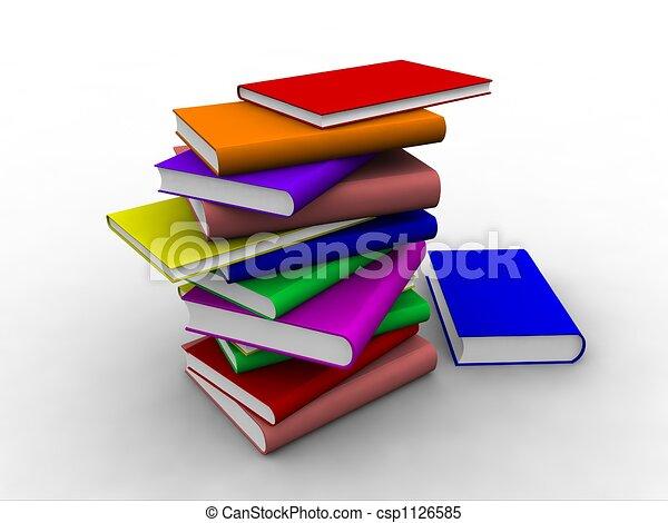 Libros 3D apilados encima - csp1126585