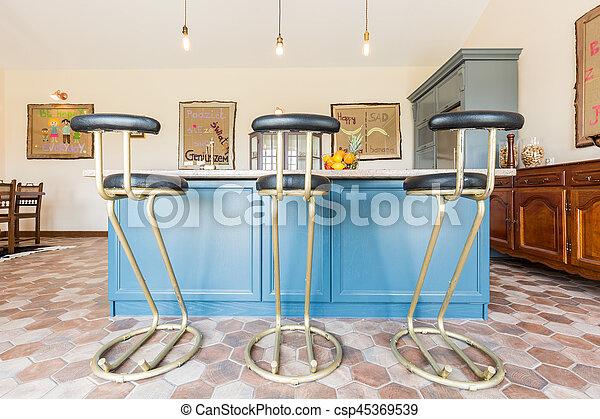 Cima mesa, barra, taburetes, cocina. Barra, cima, allí, tres ...