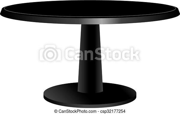 Mesa de diseño negro con una capota redonda - csp32177254