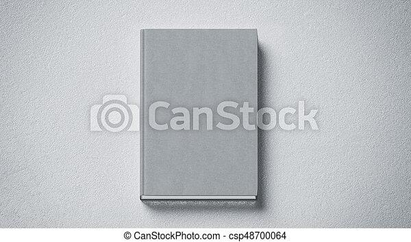 cima, tissular, difícil, cobertura, cinzento, livro, em branco, frente, lado, escarneça, vista - csp48700064