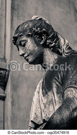 cimetière, femme, statue, recoleta - csp35474916