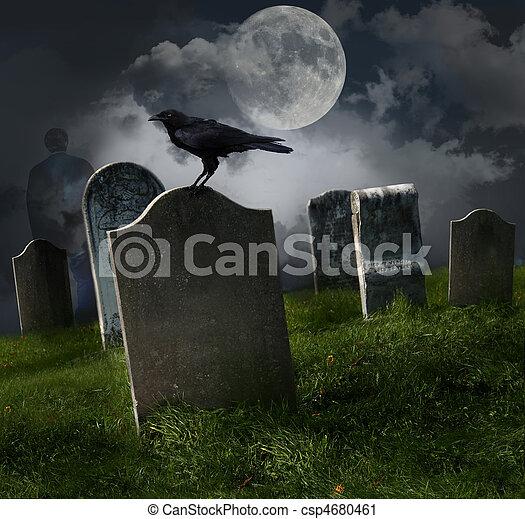 cimitero, vecchio, pietre tombali, luna - csp4680461