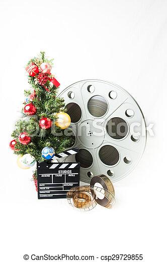 Cinéma, grand arbre, noël, bobine film, clapperboard. Bleu ...