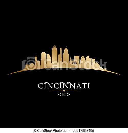 Cincinnati Ohio city silhouette black background - csp17883495