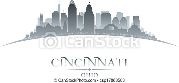 Cincinnati Ohio city silhouette white background - csp17883503