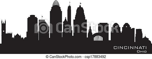 Cincinnati Ohio city skyline vector silhouette - csp17883492