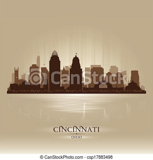 Cincinnati Ohio city skyline vector silhouette - csp17883498