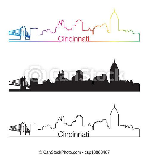 Cincinnati skyline linear style with rainbow - csp18888467