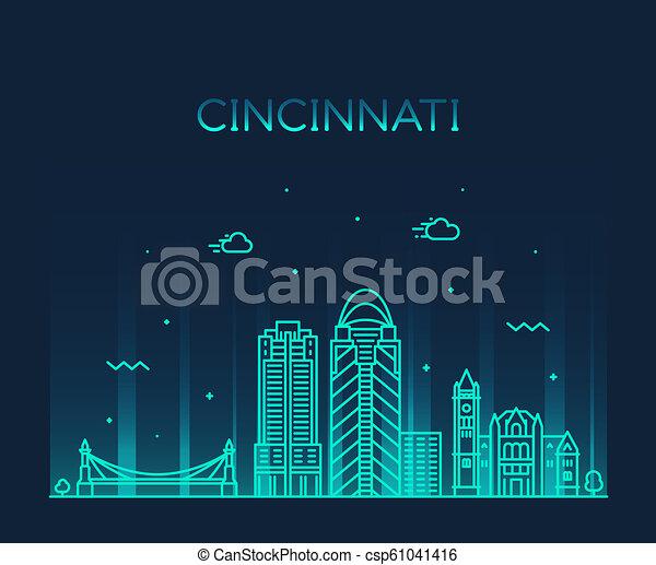 Cincinnati skyline Ohio USA vector linear city - csp61041416