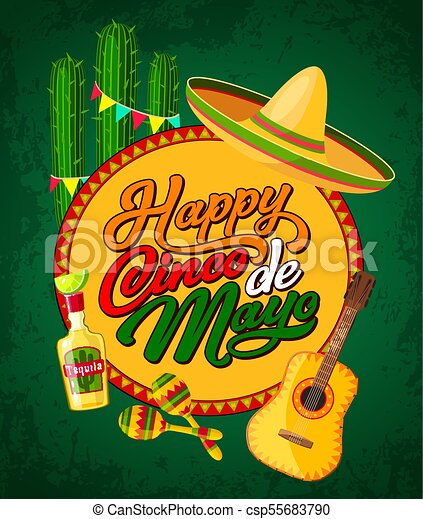 Cinco De Mayo Banner With Fiesta Party Symbols Happy Cinco De Mayo