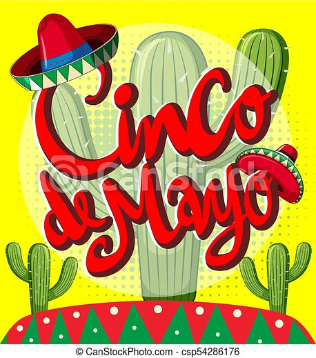 cinco de mayo card template with cactus plants illustration