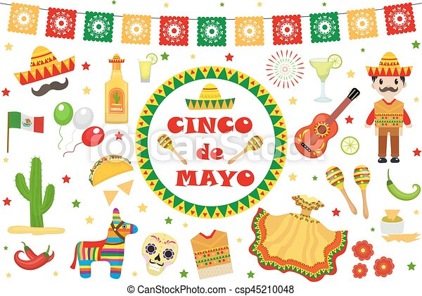 Cinco de Mayo celebration in Mexico, icons set, design element, flat style. Collection objects for Cinco de Mayo parade with pinata, food, sambrero, tequila, cactus, flag. Vector illustration, clip art - csp45210048
