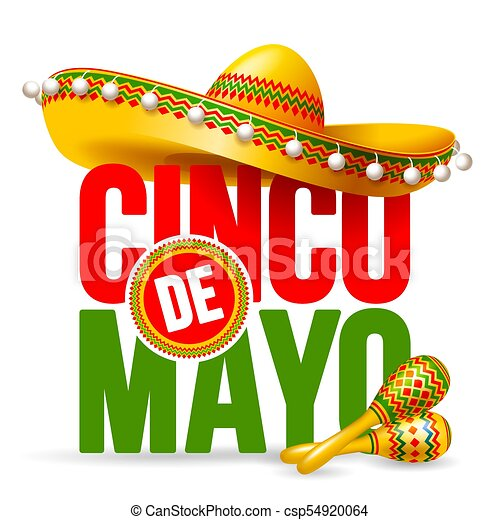 Cinco De Mayo Emblem Design With Lettering Sombrero And Maracas Symbols Of Holiday Isolated On White Background Vector Il Ration